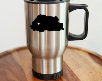 Bhutan Stainless Steel Travel Mug. Hometown, Custom, Coffee, Stainless Steel, Mug
