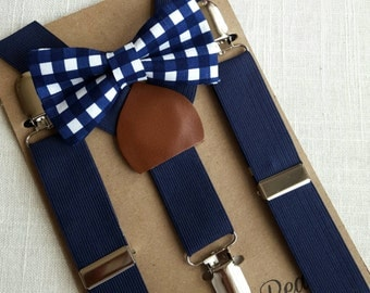 FREE U.S SHIPPING...Newborn Bow Tie and Suspenders, Toddler Bow Tie and Suspenders, Navy Gingham Bow Tie, Navy Suspenders, Ring Bearer