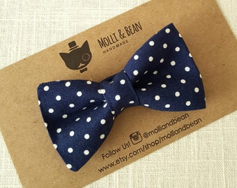 FREE U.S SHIPPING...Baby Bow Tie, Toddler Bow Tie, Boys Bow Tie, Navy Boys Bow Tie, Ring Bearer BowTie, Navy dots BowTie, Men's Navy Bow Tie