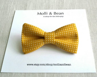 The Leigh - Baby, Newborn, Toddler, Kids, Boys bow tie, Yellow bowtie, Wedding bowtie, Ring bearer, Clip on bow tie, Easter bow tie