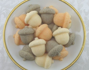 24 Acorn Shaped Sugar Cubes for Autumn, Fall, Thanksgiving, Tea Party, Party Favor, hostess gift