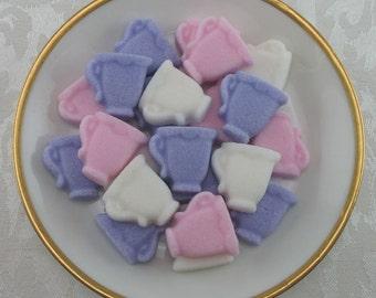 36 Pink, Violet & White Mini Teacup shaped sugar cubes for tea party, shower, coffee, tea, party favor, bridal