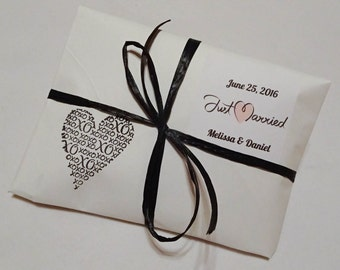 Handcrafted Custom Stamped Coffee Wedding Favors. White Paper. Comes with your Bonus Name Stamper.