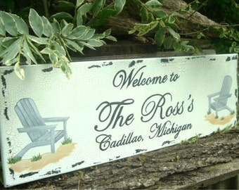 Beach Sign Custom Sign Beach House Adirondack Chair Sign 24 x 8 Wood Sign
