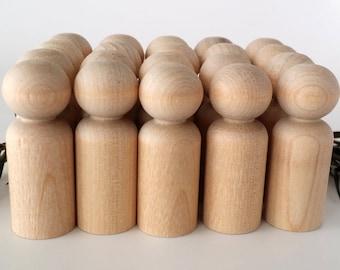 Wooden Peg Dolls / 20 Boys / Peg People / Waldorf / Unfinished Maple Ready to Paint / Twenty Boys