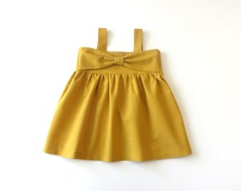 Mustard Yellow Bow Dress - baby dress, bow dress, baby girl, infant dress, toddler dress, girl's dress, mustard yellow