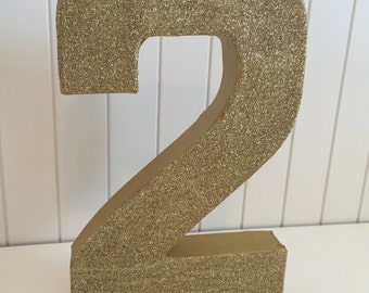 Gold glitter number 2 , photo prop, first birthday