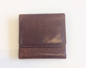 80s Brown Leather Coach Wallet / 1980s Vintage Credit Card Holder With Coin Purse