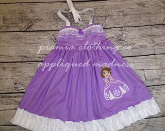 Disney Inspired Appliqued Princess Sofia the First Embellished Sweetheart Halter Dress sizes 6 months - 16