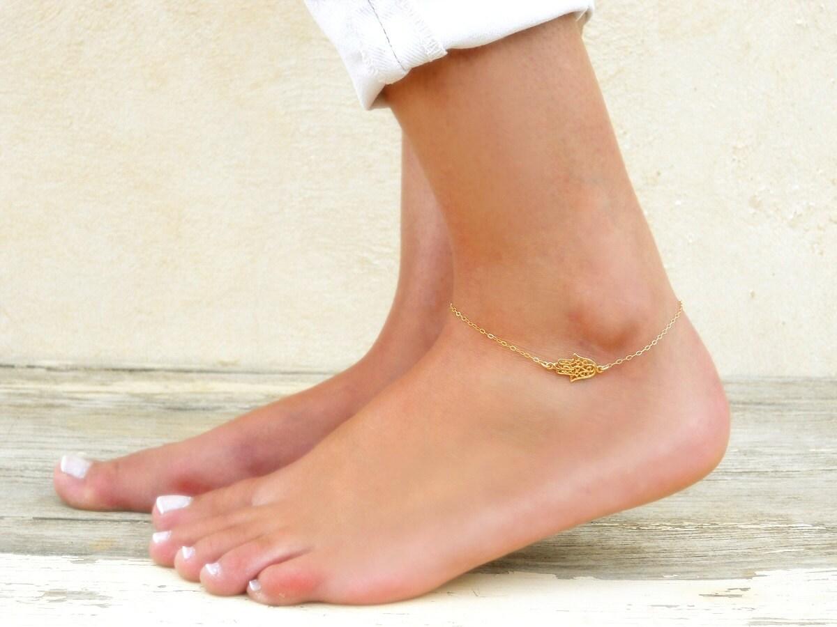 Hamsa Anklet Layering Anklet Gold Filled Hamsa Anklet Dainty Gold