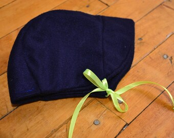 Warm & Bright - Navy blue fleece bonnet with neon yellow ties, with brim