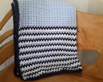 Blue striped baby blanket