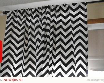 1 pair Chevron Curtains, Kitchen, Gray Curtains, Black Curtains, Zig Zag, Herringbone Curtains, Windowtreatments