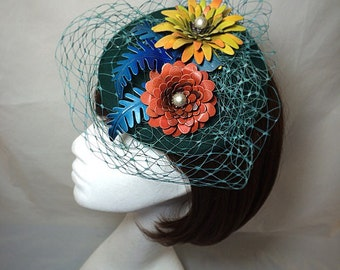 1940s fascinator , flower fascinator, flower hat, vintage wedding, button hat, tropical hat