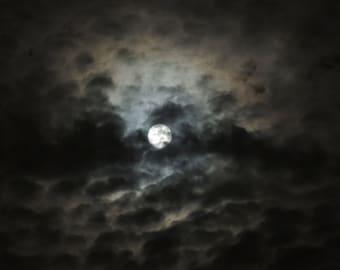 "Moon Photograph - Full Moon - Peek""a Boo Moon - Clouds & Mysterious Moon - New York Night Sky - Rustic Art - Moonlight - Nature Photograph"