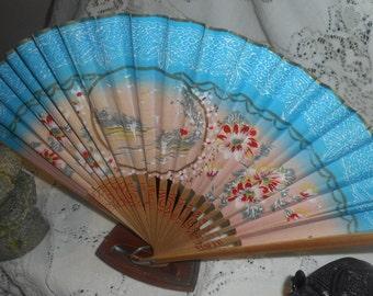 Vintage Japanese Paper Hand-Held Fan, Geisha Folding fan, Japanese Art