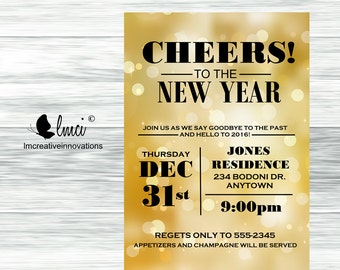 New Years Eve Party Invitation, 2017, Cheers to the New Year- Digital File