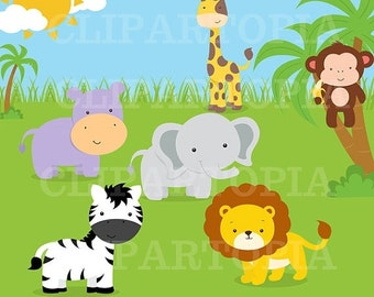 50% OFF SALE Jungle animals Digital Clipart / Safari Animals Digital Clip art for personal and commercial use /INSTANT Download