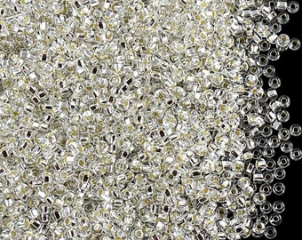 20gr Size:11/0 Preciosa Czech Glass Seed Beads,  Clear Silver Lined (11SB101)