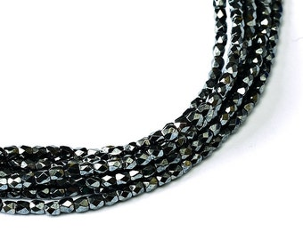 150 pcs Czech Fire-Polished Faceted Glass Beads Round 2mm Jet Hematite (2FP009)