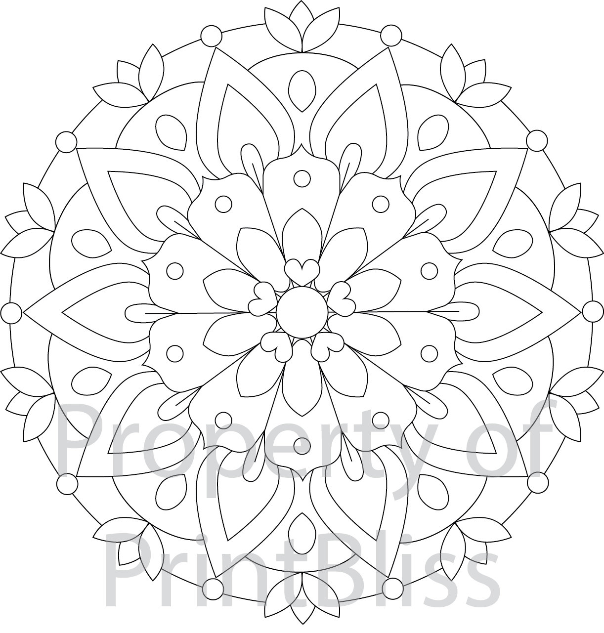 2 Flower Mandala Printable Coloring Page
