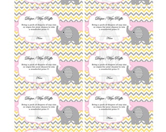 Baby Shower Games Diaper Raffle Ticket Girl baby shower Elephant baby shower instant download 92