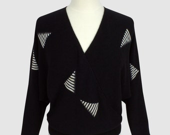 Geometric Vintage 1980s Wrap Sweater Batwing Sleeves Rayon Black Triangle New Wave Applique Deep V-Neck Sweater Enfin Label Medium