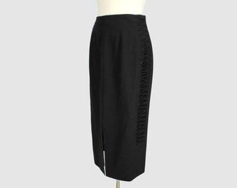 Mondi Vintage 1980s Pencil Skirt Black Lace Up Tie Accents Rock'n'Roll Style Mondi by Escada Upscale Skirt Large