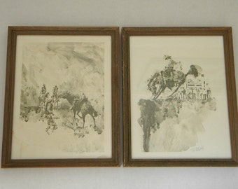 Western Rodeo prints by R. Scott signed, Rodeo Horses, set of 2