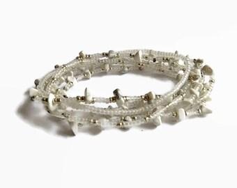 Seed bead bracelet, white howlite, stretch bracelet, silver, friendship bracelet, bracelet set