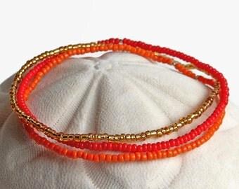 3 seed bead bracelets, stretch bracelets, red, orange, gold, boho bracelet, bracelet set, teen bracelet, boho chic