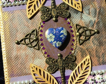 Handmade dragonfly journal with locket