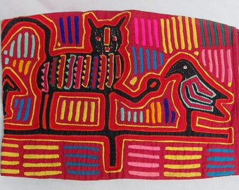 Vintage Mola Colorful Waist Band Animals & Bird Symbols 3 Layers Panama Kuna Indians