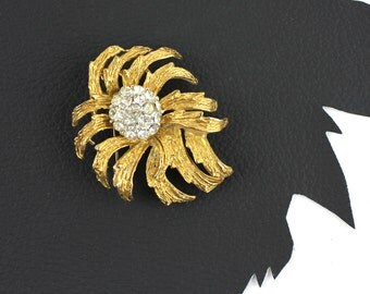 Vintage Wilting Wild Flower Gold and Rhinestone Pin Brooch