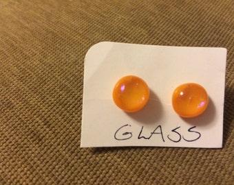 Very pretty orange art glass earrings