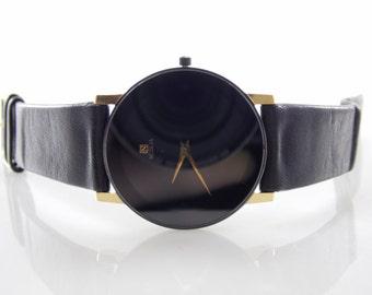 Rare Vintage Citizen Noblia Black & Gold Mens Quartz Watch