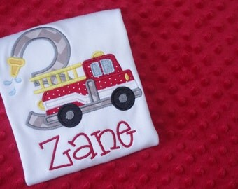 Fire Truck Birthday Shirt- Appliqued
