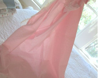 Set Vintage 50s Pink Cotton Curtains,Flocked Dots Netting,Chic Matched Tie Backs