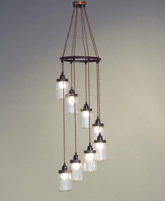 Rustic Industrial Lighting Chandelier Mason Jar Chandelier: Spiral Shaped Mason Jar Chandelier Lighting Fixture By