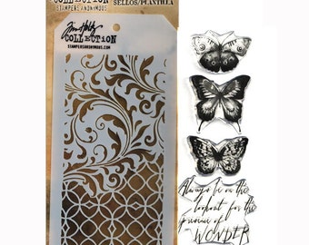 Tim Holtz Stamps and Stencils Set - WATER COLOR Stampers anonymous THMM103  1-cc02