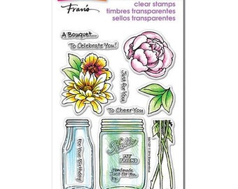 Stampendous BOUQUET FOR YOU Clear acrylic stamp set mason jar with flowers 1.cc02