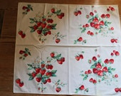 Vibrant strawberry card tablecloth and one napkin