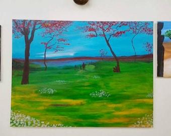 40x30 original acrylic landscape figurative painting