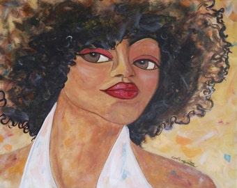 Original 20x16 Modern African American pOp ART portrait canvas painting