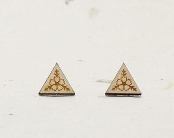 Love Triangle Eco-Friendly Birch Stud Earring