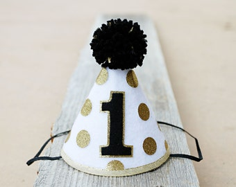 Mr. Onederful First Birthday Party Hat - Boys 1st Birthday Black and Gold Polkadot Small Party Hat -  Wild One