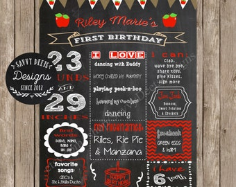 Apple Theme Birthday Sign - Chalkboard Apple Birthday Printable - Fall Birthday - Apple Themed Birthday Party - DIY Printable