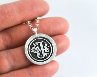 Silver Wax Seal Monogram Necklace - Monogram necklace - Gift for her, Gift for him