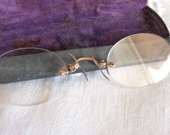 Antique Pince Nez Glasses, Made in France, Original Case circa 1880