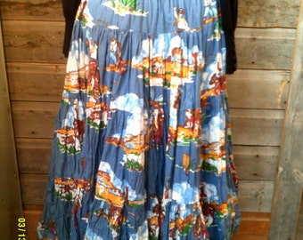 Woman's Vintage Cotton Western Full Skirt, size 4 to 8, Western Skirts 8, Cowgirl Skirts 8, Square Dance Skirt, Cotton Ruffled Skirt, Skirts